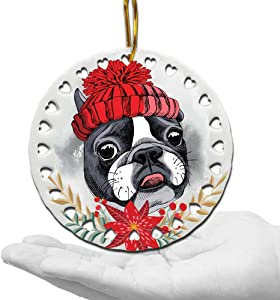 BELLA BUSTA-Dog Christmas Ornament-Dog Lover Gifts-Ceramic Hearts Christmas Tree Ornament-UV Print GOG Face with Christmas Hat (French Bulldog)