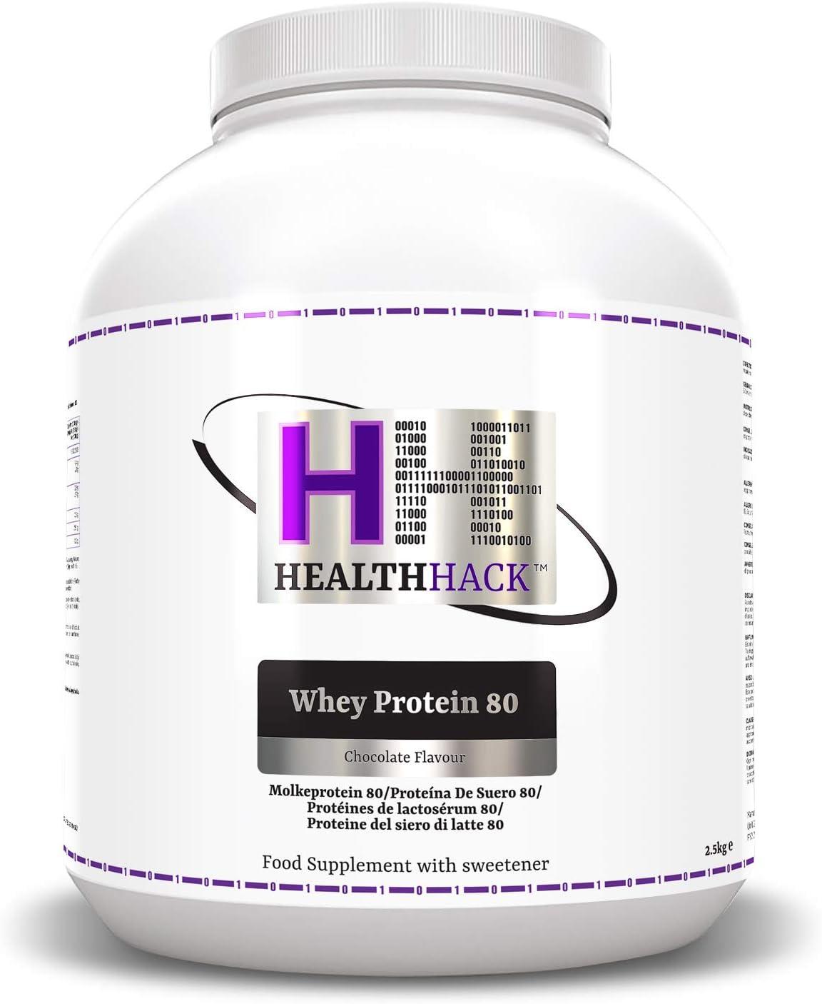 Health Hack - Proteína de suero de leche 80 %, 2,5 kg, chocolate
