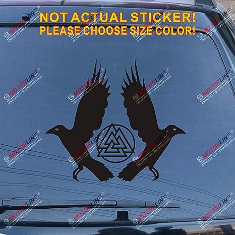 3S MOTORLINE 2X White 5 Tall Huginn and Muninn Twin Ravens Decal Sticker Car Vinyl Norse Odin Style b