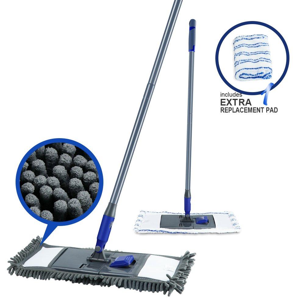 Mastertop 3Pcs Floor Cleaning Tools Microfiber Dust Mops with 2-in-1 Window Squeegee Long Handle Duster for Floor Window Car