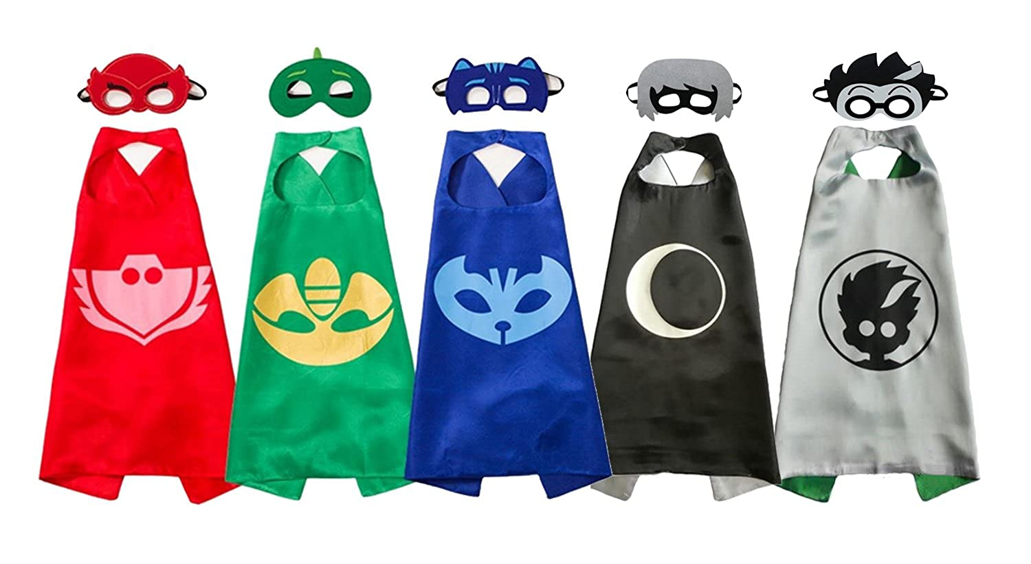 Amazon.com: Uunic PJ Masks Costumes 5 Capes and Masks For Catboy Owlette Gekko Romeo Luna Girl: Clothing