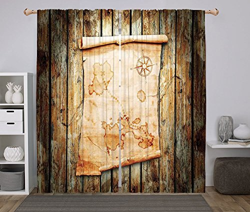 Cheap Polyester Window Drapes Kitchen Curtains,Island Map,Treasure Map on Rustic Timber X Marks the Spot of Gold Nautical Pirates Concept,Cream Brown,Living Room Bedroom Kitchen Cafe Window Drapes 2 Panel S