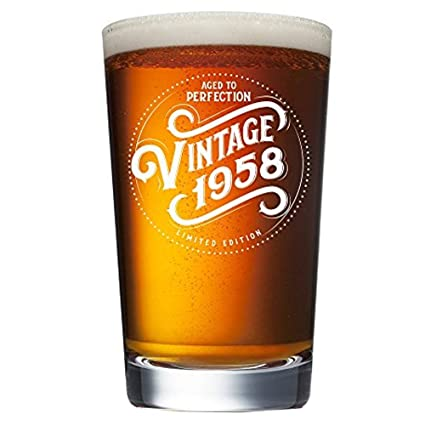 1958 61st Birthday Gifts For Women And Men Beer Glass