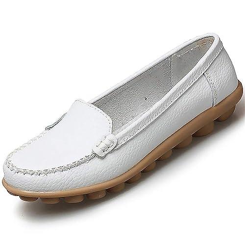 Las Mujeres Zapatos de Cuero Genuino Deslizamiento sólido en el Barco Zapatos Flats Zapatos Mocasines de la Mujer Zapatos Casuales: Amazon.es: Zapatos y ...
