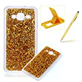 Rubber TPU Case For Samsung Galaxy J3 2016,Herzzer Slim Lightweight Color Changing Glittering Luxury Unique [Gold Sequins] Bling Shiny Sparkle Soft Silicone Gel Clear Bumper Frame Cover for Samsung Galaxy J3 2016