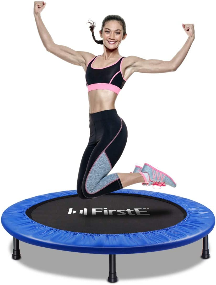 FirstE 40 Portable Fitness Trampolines Foldable Mini Trampoline for Adults and Kids with Safety /& Anti-Skid Pads Exercise Rebounder Max Load 330lbs Recreational Jump Trampoline for Indoor/&Outdoor
