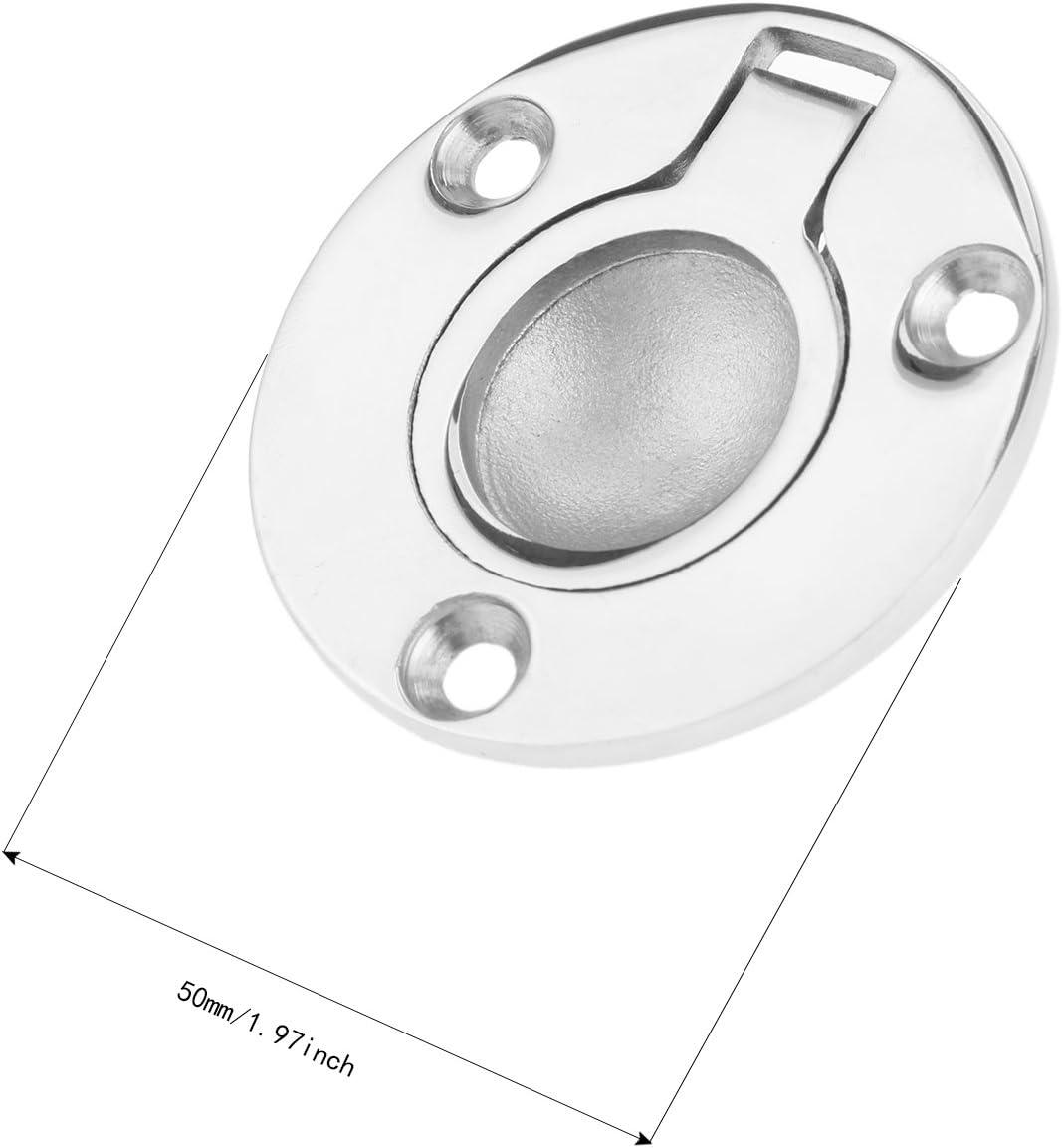 Mtsooning 4pcs Boat Hatch Handle Stainless Steel Round Pull Ring Latch Locker Flush 1.97 Locker Marine Yacht Cabinet Pull Lift