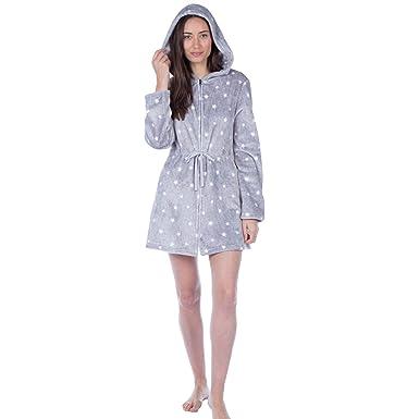 Masq Womensladies Fleece Star Zip Front Hooded Robedressing Gown