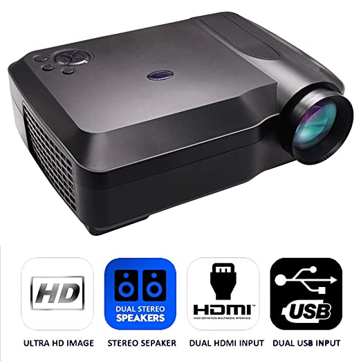QLPP Mini proyector móvil, Cine en casa con 120 Pulgadas Tamaño de ...