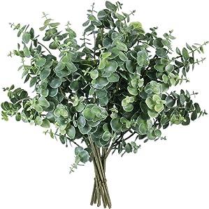 "Winlyn 10 Pcs Artificial Grey Green Eucalyptus Leaves Stems 13.6"" Tall Bulk Wedding Bouquet Greenery Rustic Holiday Greens for Vase Mason Jar Bottle Floral Arrangement Christmas Wreath Garland"