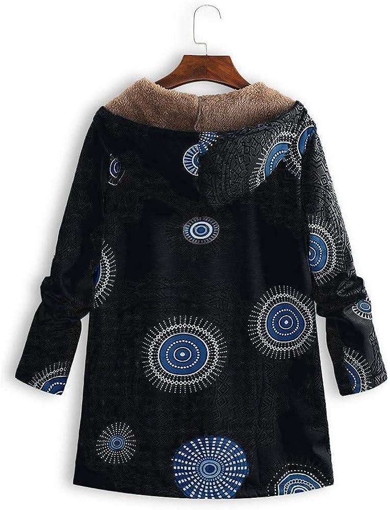 LEXUPE Women Autumn Winter Warm Comfortable Coat Casual Fashion Jacket Outwear Floral Print Hooded Pockets Vintage Oversize Coats Black