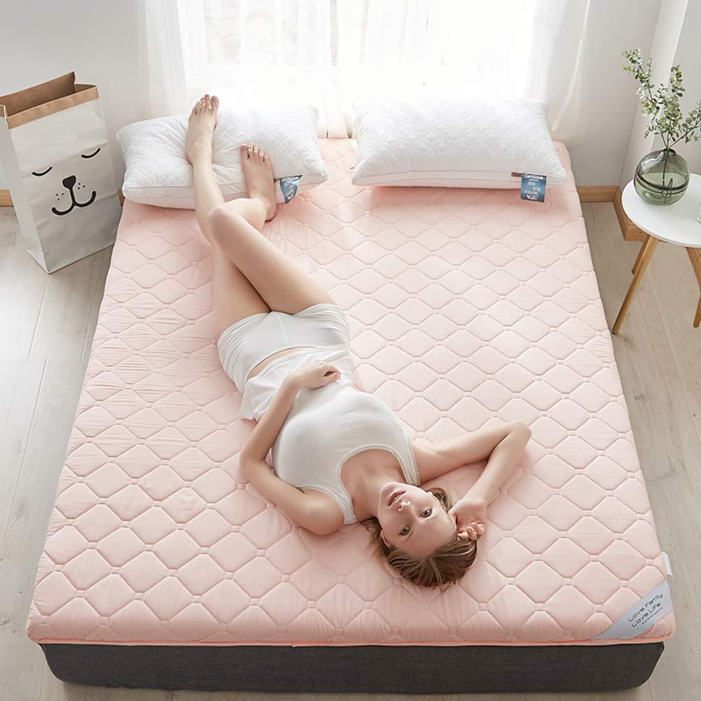 HIGHKAS Gesteppte Tatami-Bodenmatte, extraweiche, atmungsaktive Matratze Faltbarer Futon rutschfeste Multifunktionsmatratze Linderung von Rückenschmerzen - Rosa 200 x 220 cm (79 x 87 Zoll)