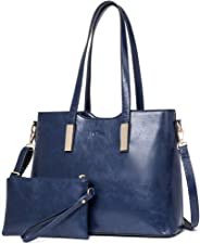 CLUCI Purses and Handbags for Women Leather Designer Tote Large Fashion Ladies Shoulder Bags with Inner Pouch 2Pcs Set
