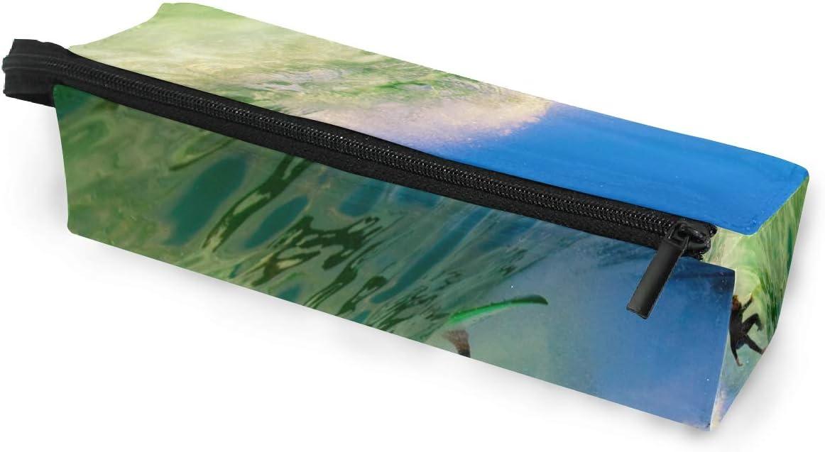 Estuche de bolsa de lápiz Gafas de sol Surfer On Wave In Epic Tube Cosmetic Students Stationery Pouch Zipper for Girls Boys