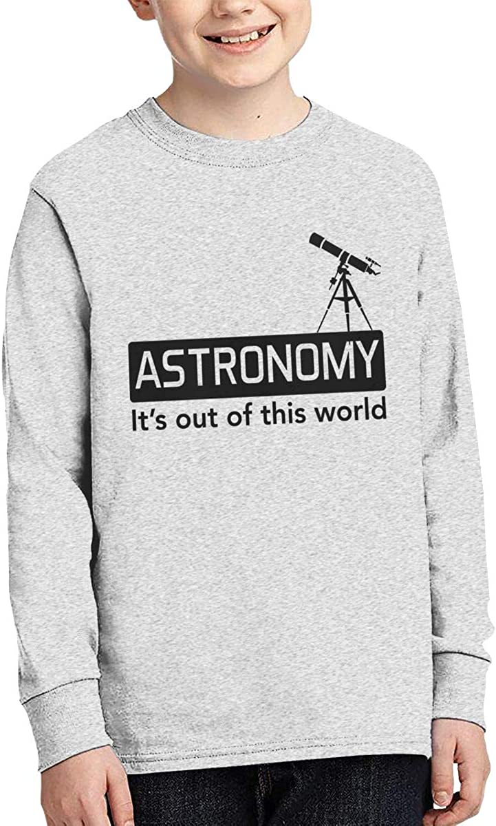Rhfjgk Ldjg Astronomy Its Out of This World Youth Boys Long Sleeve T-Shirts Cotton