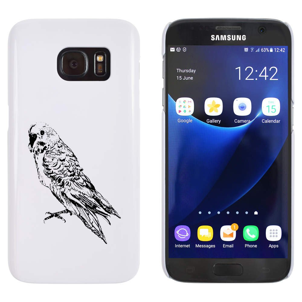 Azeeda Blanco \'Periquito\' Funda / Carcasa para Samsung Galaxy S7 (MC00096859)
