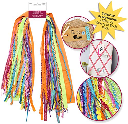 50 Yards Ribbons for Crafts Wrapping Ribbon Fabric Ribbon Hair Ribbons for Girls Craft Ribbon Decorative Ribbon Fabric Trim Bow Making Supplies Bow Ribbon Trim Sewing Trim Assorted Ribbon (1 Pack)