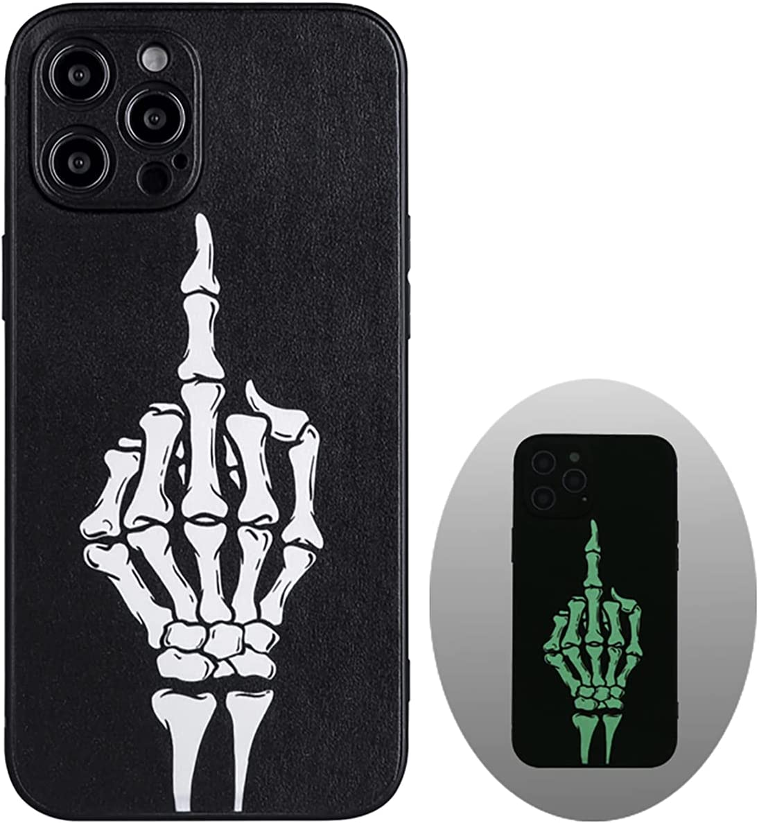 X-spirit Cool Leather Case for iPhone 12 Pro Max, Skull Skeleton Design, Middle Finger Glow in The Dark (iPh 12 Pro Max-Middle Finger)