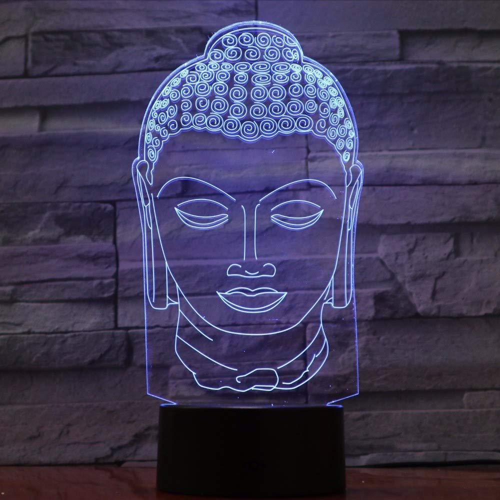 7 Color Ganjue Cambio De Buda Lámpara La 3d WHEDY29I