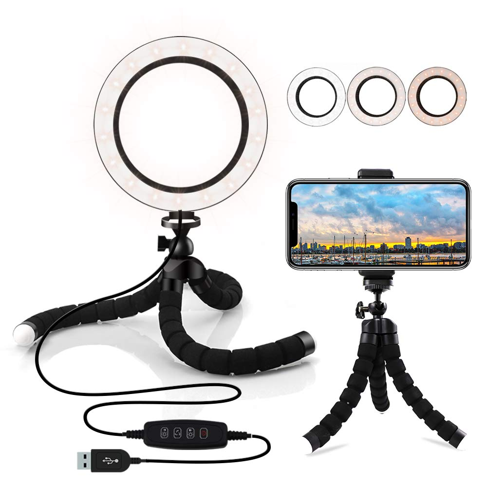 6.3'' Selfie Ring Light with Flexible Tripod Stand & Cell Phone Holder, Dimmable 3 Light Modes Mini LED Camera Light,Video Lights for YouTube,Makeup