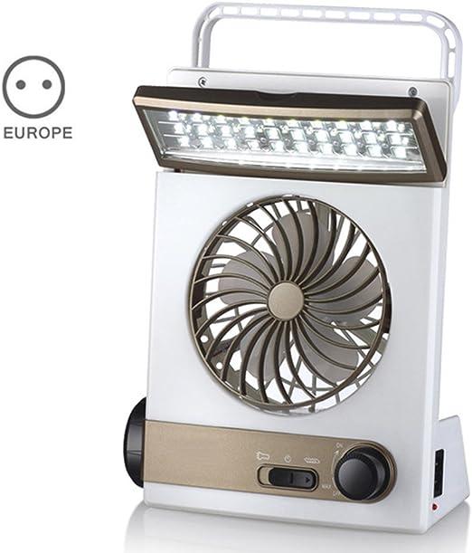 MiaLian Ventilador Solar multifunción 3 en 1 lámpara LED de Escritorio, Adecuado para el Camping Familiar al Aire Libre, EU Plug: Amazon.es: Hogar