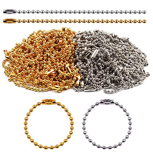 Gold Silver Keychain - BronaGrand 100 Pieces Ball Chains Bead Connector Clasp 2.4 mm Diameter Keychain Tag Key Rings 100mm Long,Gold and Silver