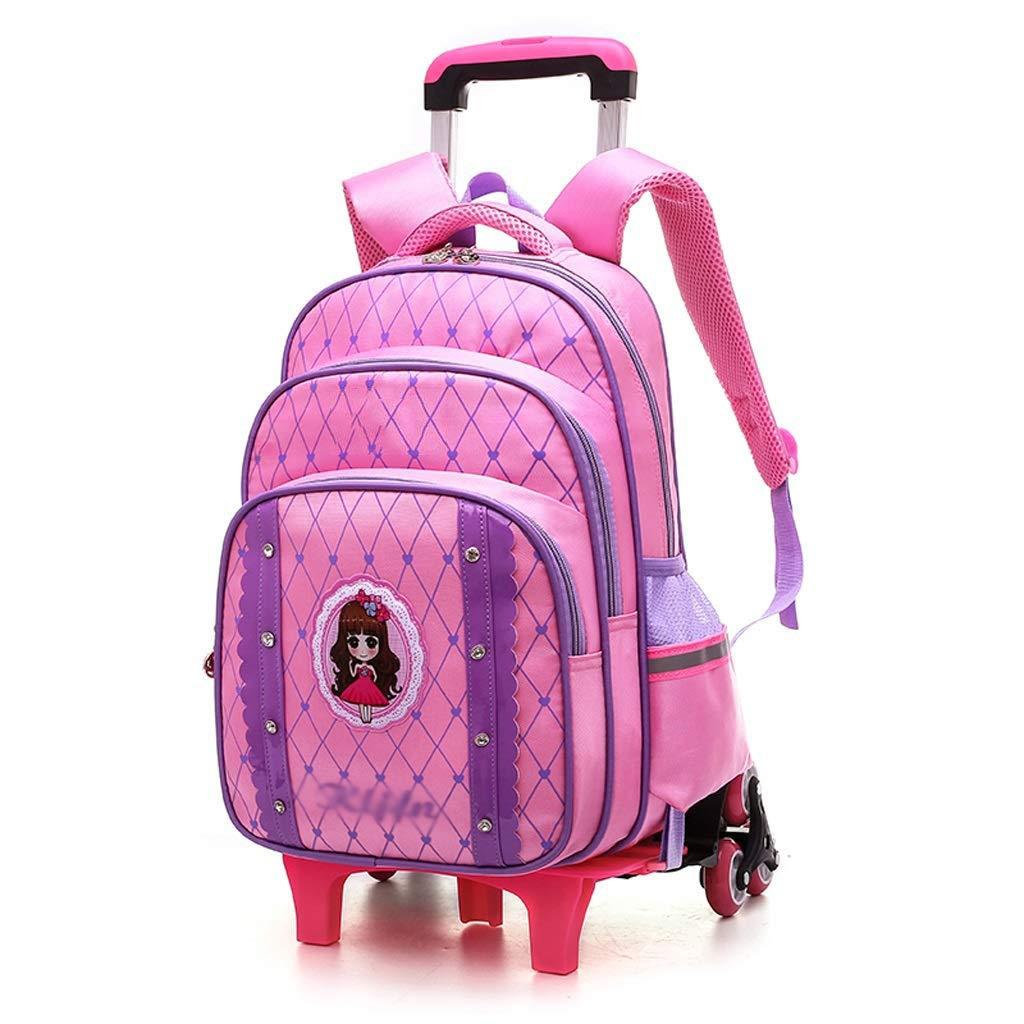 DYYTR rossoolamento Zaino Ruote Trolley-Bambini Unisex Scuola di Viaggio in Nylon Impermeabile Carrello Rimovibile Bag 6 Ruote