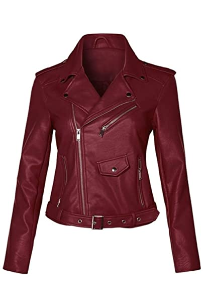 variety styles of 2019 save up to 80% cozy fresh Women's Juniors Fashionable Faux Leather Moto Biker Jacket with Pockets