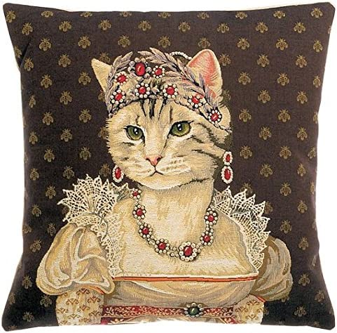 Authentic Jacquard Cotton Woven Gobelin Belgian Tapestry Pillow Cases Decorative Gifts Home Decor Cushion Cover Protector 18X18 Vintage Cat Portrait of Princess Josephine Charlotte of Belgium