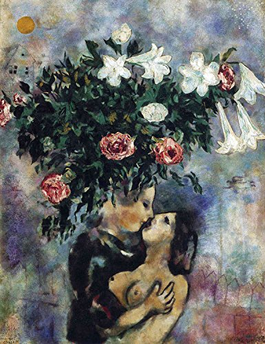 Marc Chagall - Lovers Under Lilies, Size 24x32 inch, Poster Art Print Wall décor