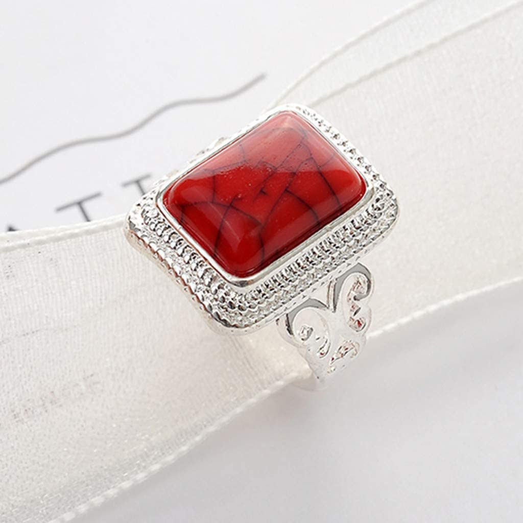 Green Red Turquoise Rings,Futemo Fashion Gemstone Jewelry Silver Plated Alloy Bands Statement Gift Ring for Women Girl