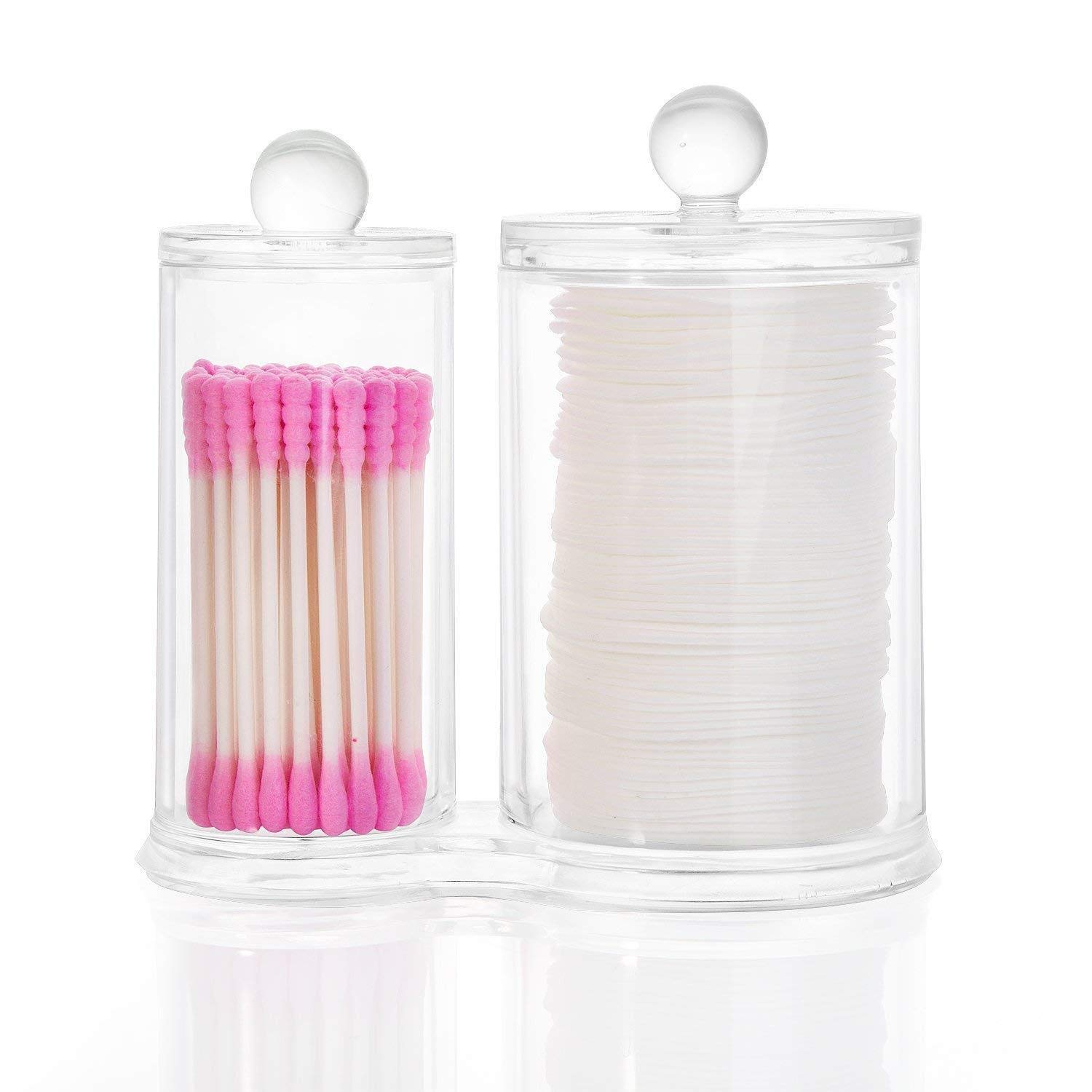 YEEGG Clear Plastic Cotton Ball and Swab Holder with Free Cotton Swabs for Vanity Counter-top
