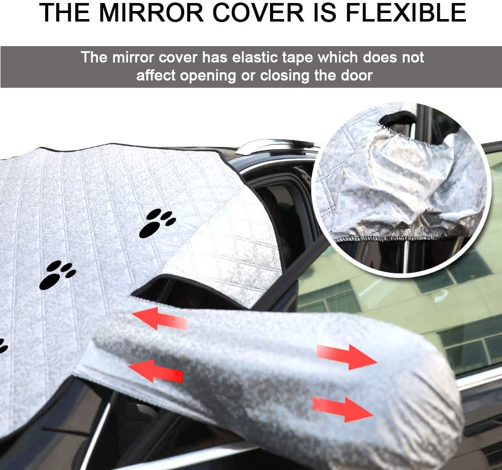 """HOMEYA Car Windshield Snow Covers Ice Removal Wipe Visor Frost Guard Protector Magnet Edge Car Sun Shade with Elastic Mirror Covers Winter Exterior Hood Fits SUVS Cars Trucks Vans 57/""""x47/"""""""