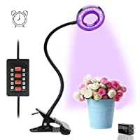 LED Plant Light, 10W Auto ON/OFF Latest Timing Function Full Spectrum Desk Clip Grow Lamp with 360° Flexible Adjustable Gooseneck, 48 LED Chips Dual-head Growth Bulbs for Office Home Indoor Greenhouse Organic Organizer Plants