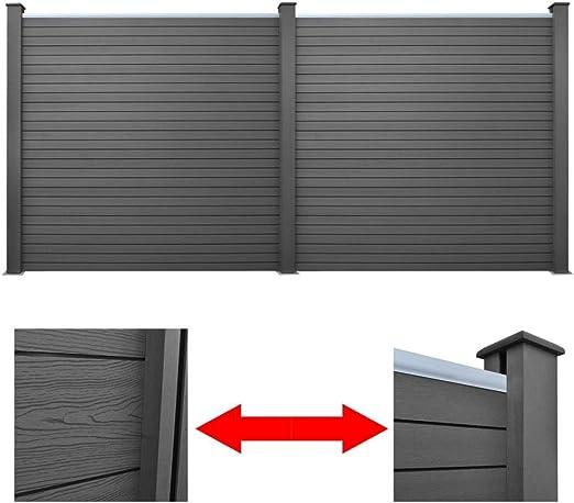 Furnituredeals Malla para cercas Panel de Valla de Jardin 2 Unidades WPC Gris 361 cm cercas para Jardin: Amazon.es: Jardín