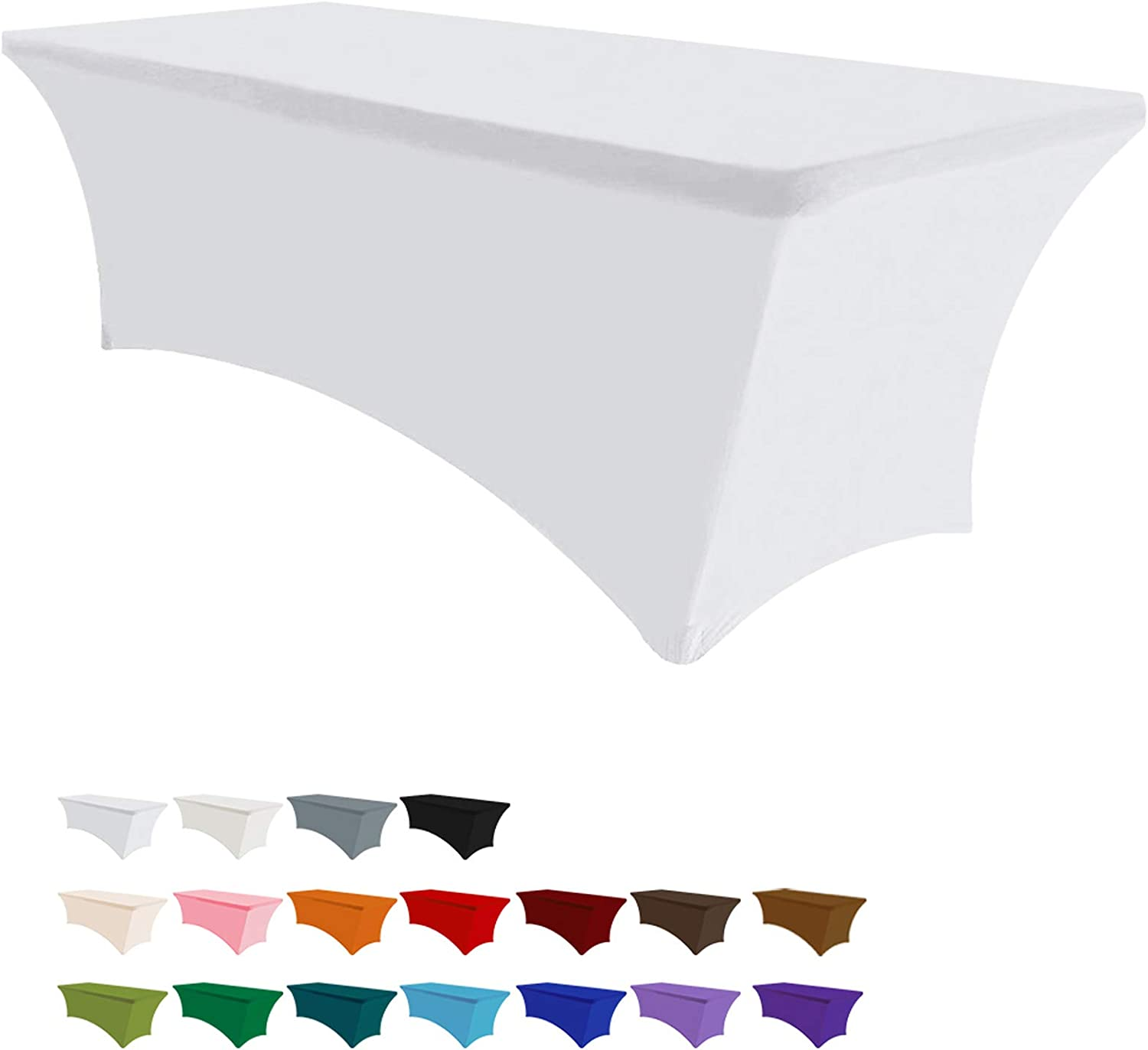Eurmax 6Ft Rectangular Fitted Spandex Tablecloths Wedding Party Patio Table Covers Event Stretchable Tablecloth (White)