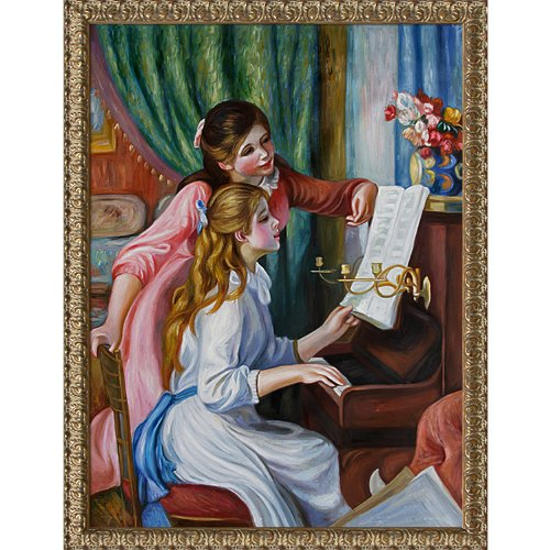 overstockart-rn1618-fr-932436x48-renoir-young-girls-at-the-piano-with-golden-oak-leaf-frame-distress