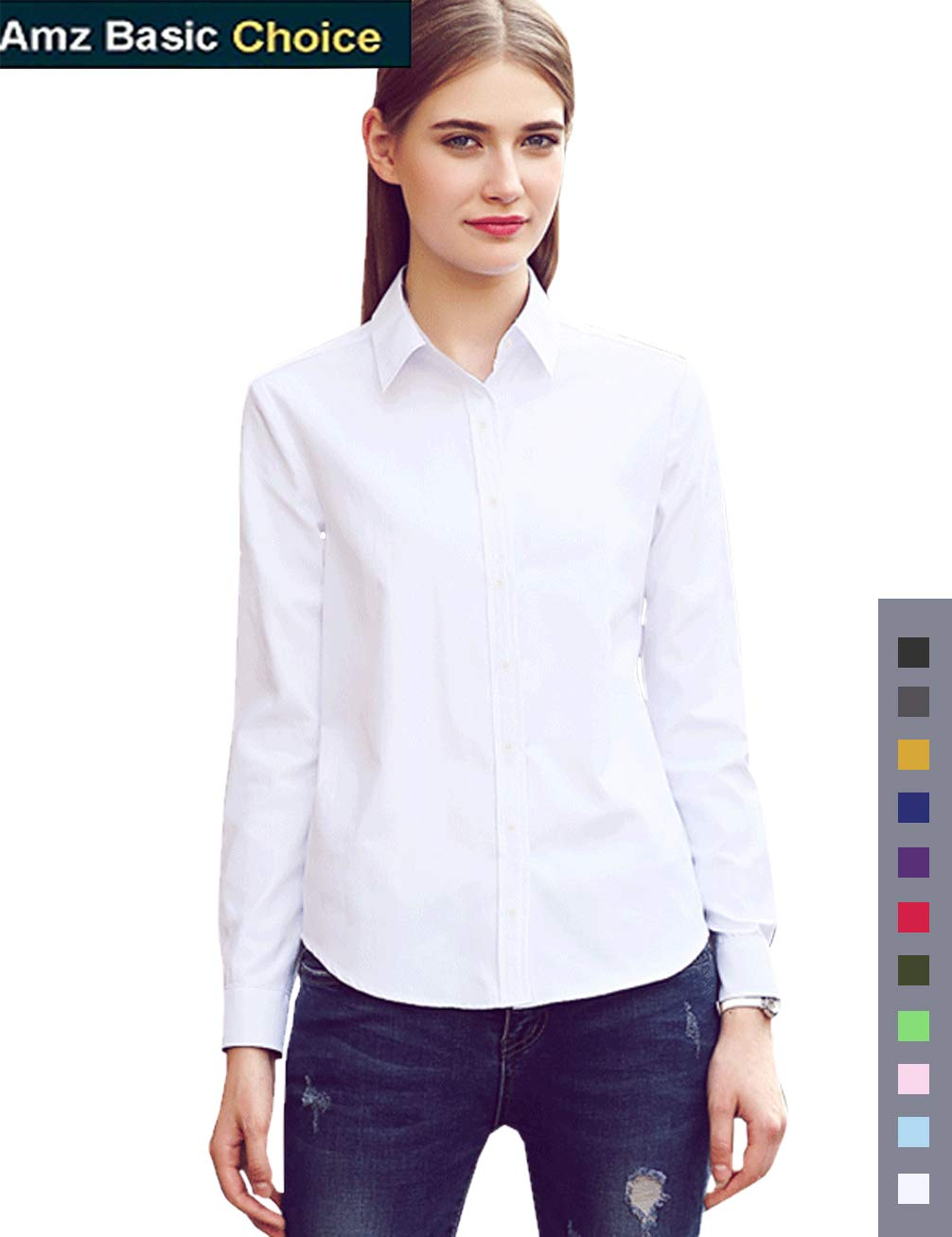 diig Women Dress Shirt - Long Sleeve Cotton Button Down Blouse, White 24