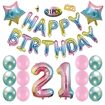 21st Birthday Decorations Rainbow Gradient Happy Balloons Colorful Banner Pink Blue Latex