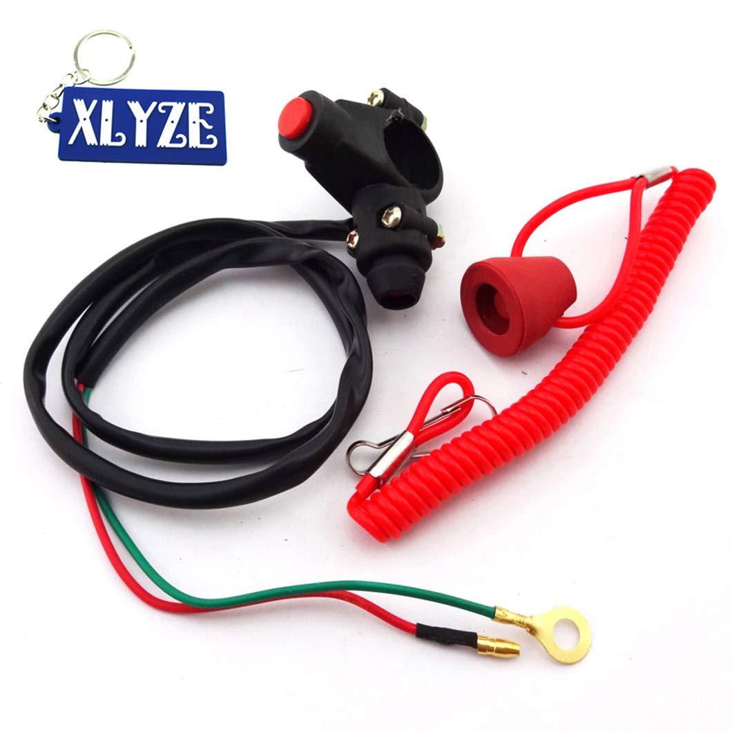 xlyze Engine Kill Stop Tether Closed Interrupteur de sécurité Bouton poussoir pour 2temps Pocket Mini Dirt Bike ATV Quad 4Wheeler TRX