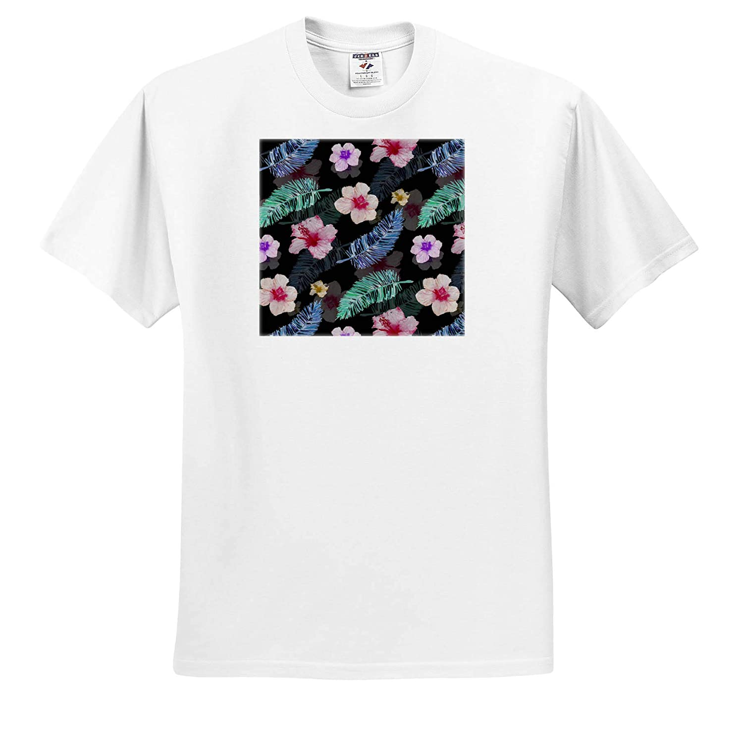 Cute Pattern Flowers and Feathers Perfect Trendy Background T-Shirts 3dRose Sven Herkenrath Art