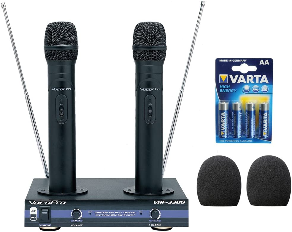 VocoPro VHF-3300-2 Channel VHF Rechargeable Wireless Microphone System with (2) WHF-158 Foam Windscreen and AA LR6 Alkaline Battery (4-Pack)