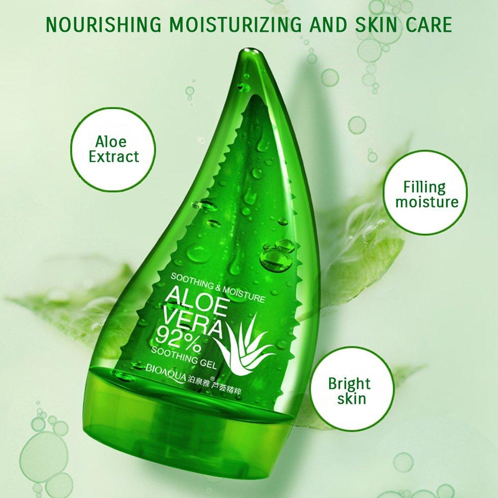 Bioaqua Aloe Vera 92 Soothing Gel 160ml Cream Liquid Shooting Original High Moisturizing Beauty