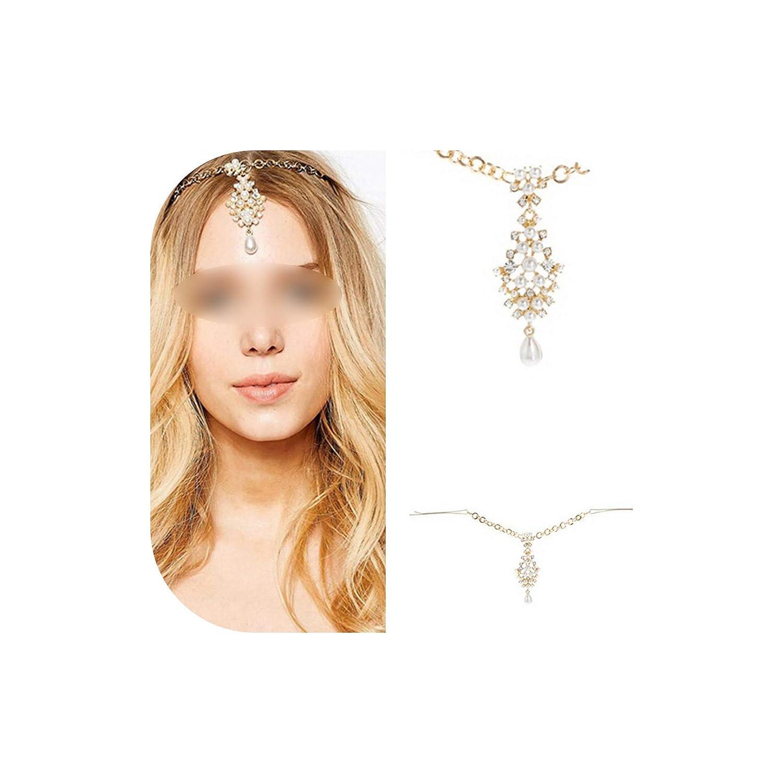 Amazon Com Rhinestone Bridal Hair Chain Pearl Forehead Headpiece