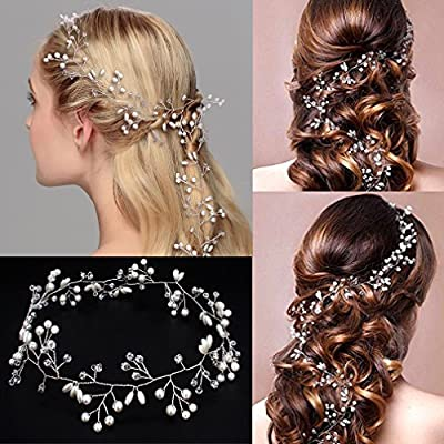 Jaciya Crystals Wedding Headband Bridal Headpieces for Bridesmaid and Flowergirls, 19.7 inches Hair Vine and Headpiece Pearls Silver Hair Accessories for Women and Girls