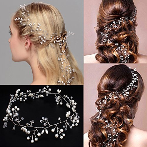 Jaciya Crystals Wedding Headband Bridal Headpieces for Bridesmaid and Flowergirls, 19.7 inches Hair Vine and Headpiece Pearls Silver Hair Accessories for Women and Girls (Silver)