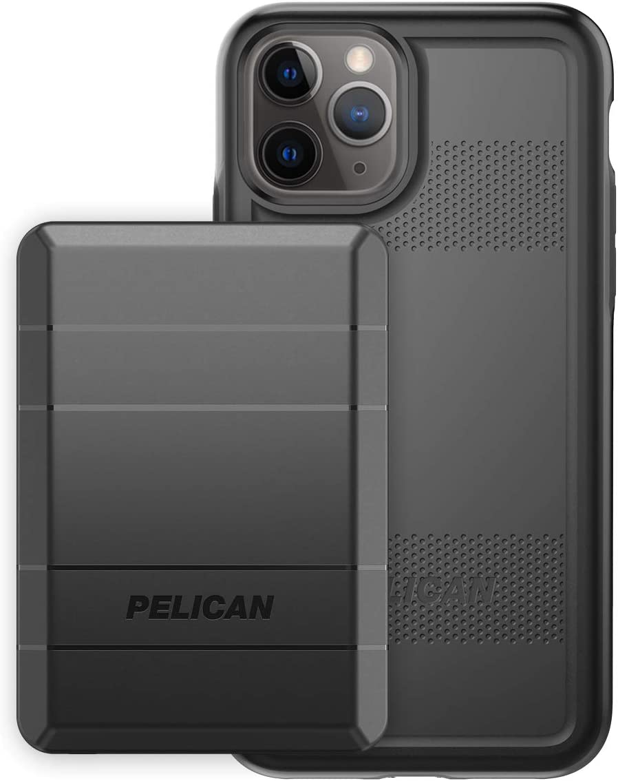 Pelican iPhone 11 Pro Case, Protector Series – Military Grade Drop Tested, TPU, Polycarbonate Protective Case for Apple iPhone 11 Pro - with EMS Rechargeable Battery Pack (Black)