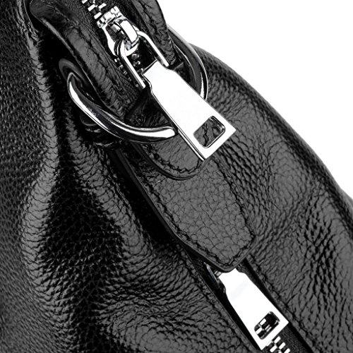 Hombro Cierre Capacidad Cuero Trabajo Mujer Zipper Negro Bolso Gran Mano de Yaluxe ZxvApv
