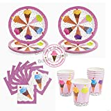 ice cream labels - Ice Cream Cone Party supplies 16 guests, dinner plates, napkins, cups, labels