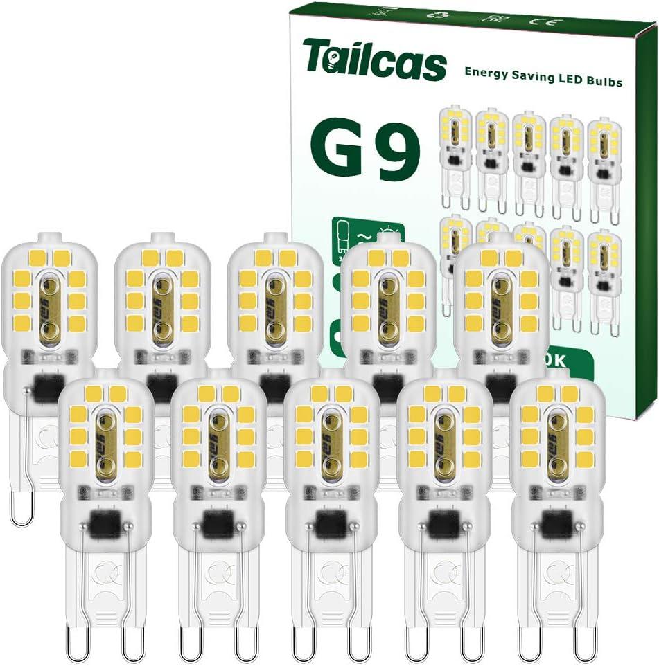 Bombillas LED G9 de 3w, Blanca Fría 6000K, Equivalente 30W Lampara Halógena, 14 Mechas de luz LED, Ángulo de Haz 360°, No Regulable, Sin parpadeo, 300LM AC220V-240V, Pack de 10 Unidade